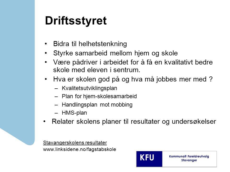 KFU Kommunalt Foreldreutvalg Stavanger Driftsstyret Bidra til helhetstenkning Styrke samarbeid mellom hjem og skole Være pådriver i arbeidet for å få