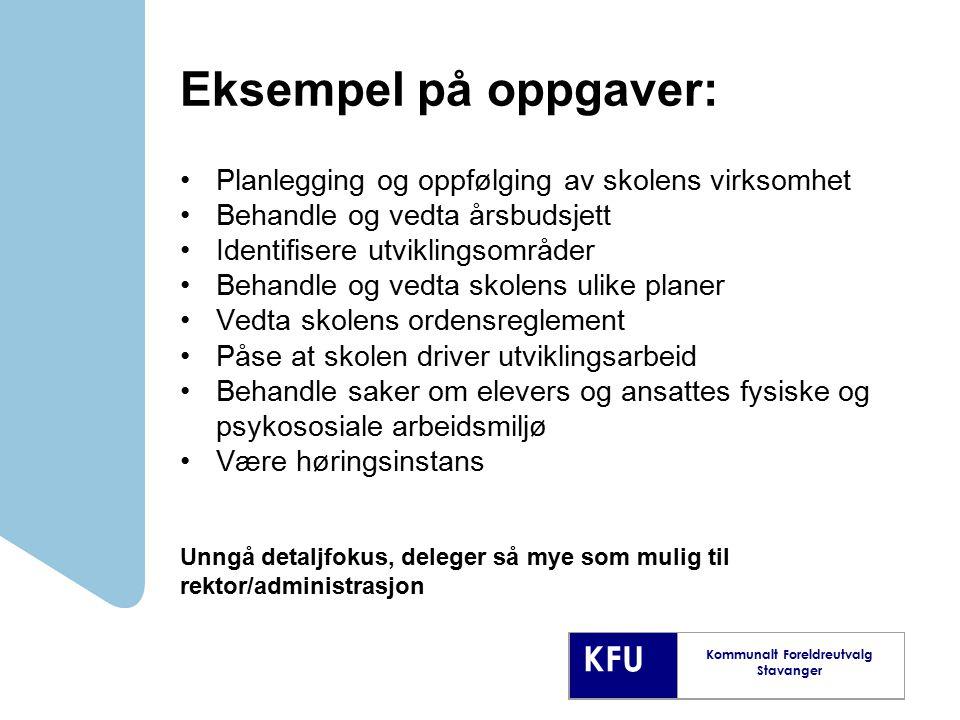KFU Kommunalt Foreldreutvalg Stavanger Eksempel på oppgaver: Planlegging og oppfølging av skolens virksomhet Behandle og vedta årsbudsjett Identifiser