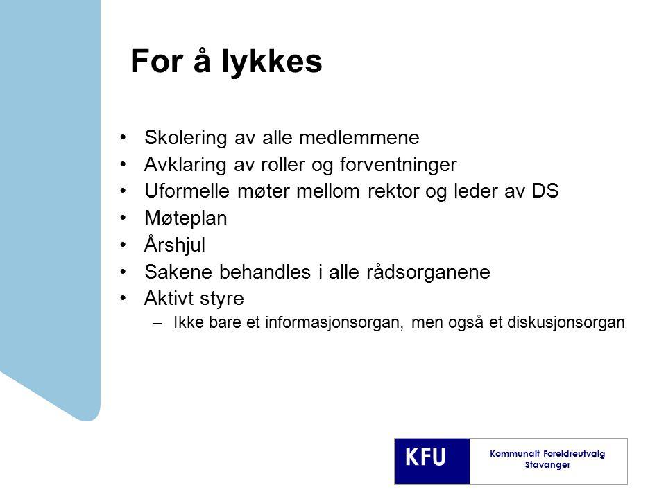 KFU Kommunalt Foreldreutvalg Stavanger For å lykkes Skolering av alle medlemmene Avklaring av roller og forventninger Uformelle møter mellom rektor og