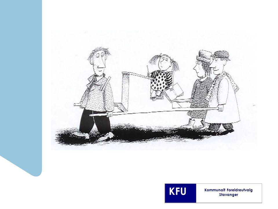 KFU Kommunalt Foreldreutvalg Stavanger Foreldremøter Foreldremøtene bør preges av dialog og aktivitet Bruk foreldremøtet til å bli enige om former for samarbeid og konfliktløsning i fredstid Diskuter hva foreldre kan gjøre for å utvikle et godt miljø i gruppen Evaluer møtene Foreldremøter med eller uten lærer til stede.