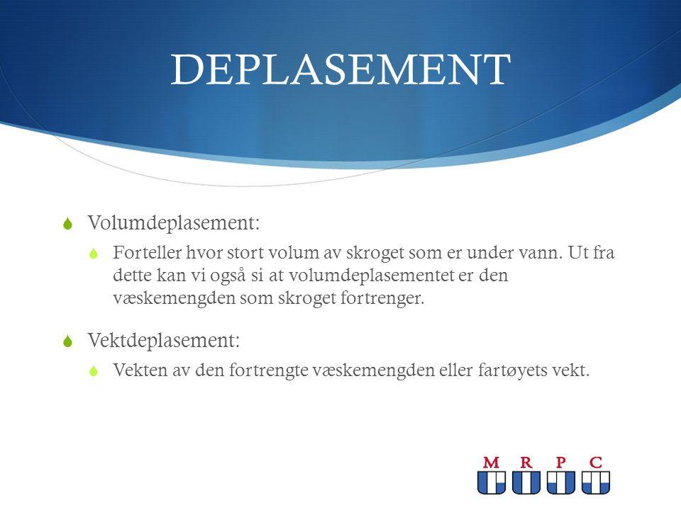 DEPLASEMENT  Volumdeplasement:  Forteller hvor stort volum av skroget som er under vann. Ut fra dette kan vi også si at volumdeplasementet er den væ