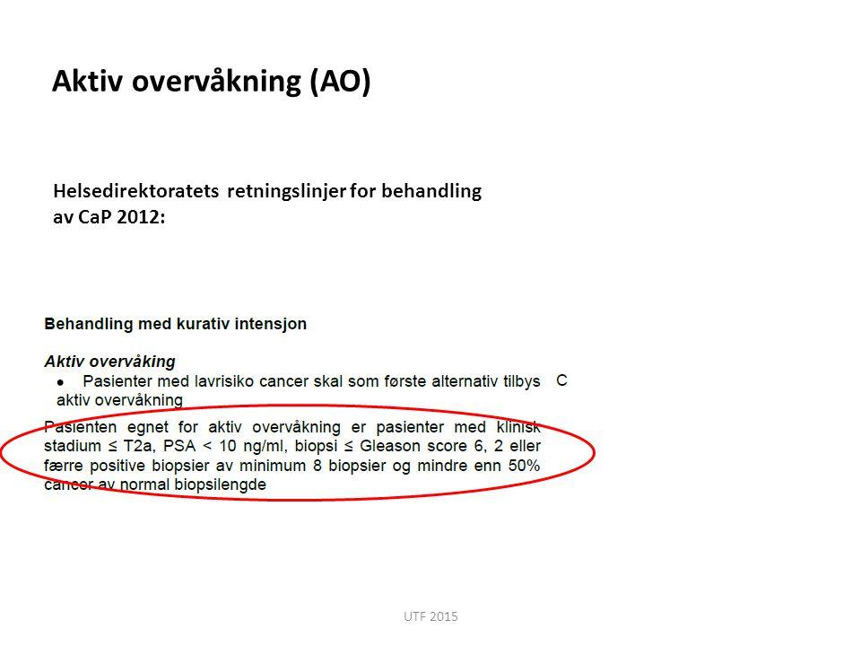 Aktiv overvåkning (AO) Helsedirektoratets retningslinjer for behandling av CaP 2012: UTF 2015