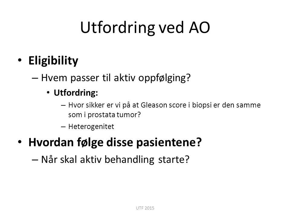 Utfordring ved AO Eligibility – Hvem passer til aktiv oppfølging? Utfordring: – Hvor sikker er vi på at Gleason score i biopsi er den samme som i pros