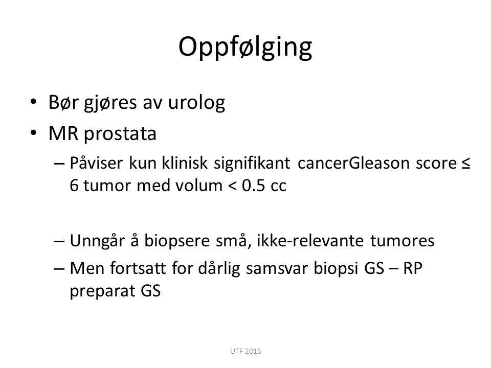 Oppfølging Bør gjøres av urolog MR prostata – Påviser kun klinisk signifikant cancerGleason score ≤ 6 tumor med volum < 0.5 cc – Unngår å biopsere små