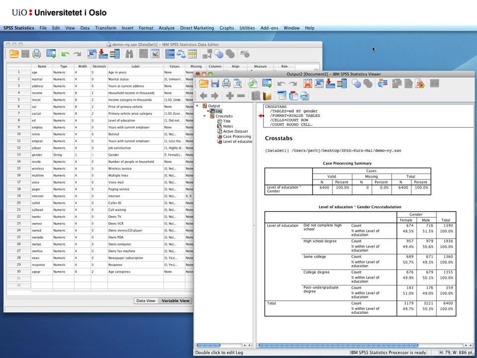 Litt å ha i mente En variabel kan bare ha én verdi for én case Case-id (identifikasjonsnummer av et eller annet slag) anbefales absolutt Unødig bruk av string-data bør unngås Kontrollér data nøye før innlesning til SPSS Kontrollér data nøye etter innlesning til SPSS – Gå gjennom kodeboka i Variable View-vinduet – Sjekk frekvensfordelingene for alle variabler med Frequencies Vær nøye med dato- og tidsangivelser, måledata, desimaldata Hvis data kommer fra Nettskjema, bruk kodeboksfunksjonen der