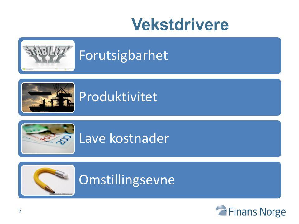 Forutsigbarhet Produktivitet Lave kostnader Omstillingsevne 5 Vekstdrivere