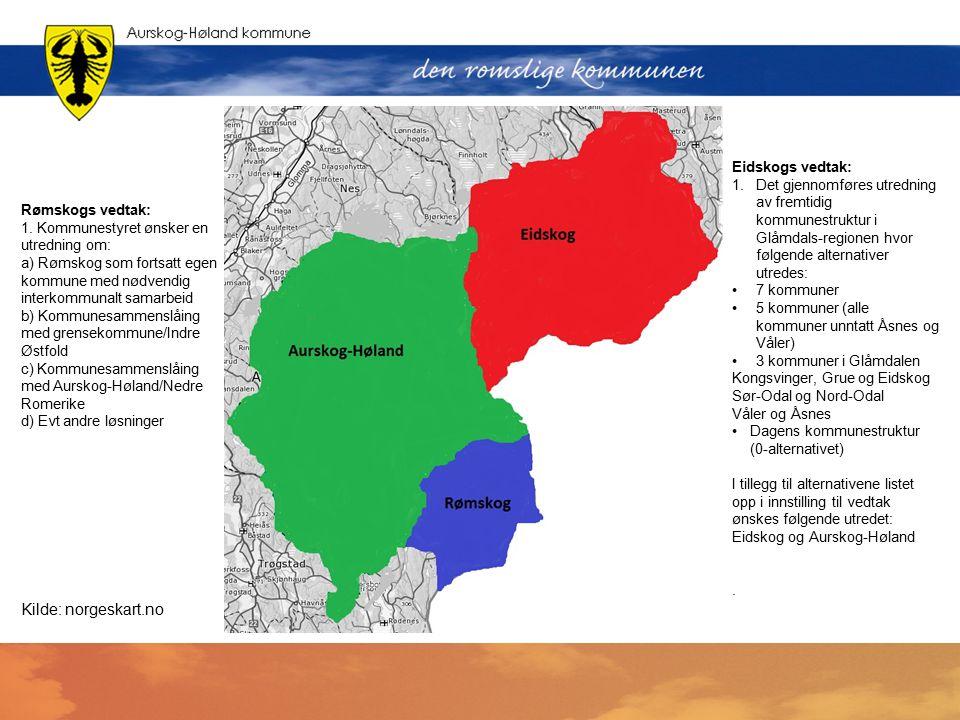 Rømskogs vedtak: 1. Kommunestyret ønsker en utredning om: a) Rømskog som fortsatt egen kommune med nødvendig interkommunalt samarbeid b) Kommunesammen