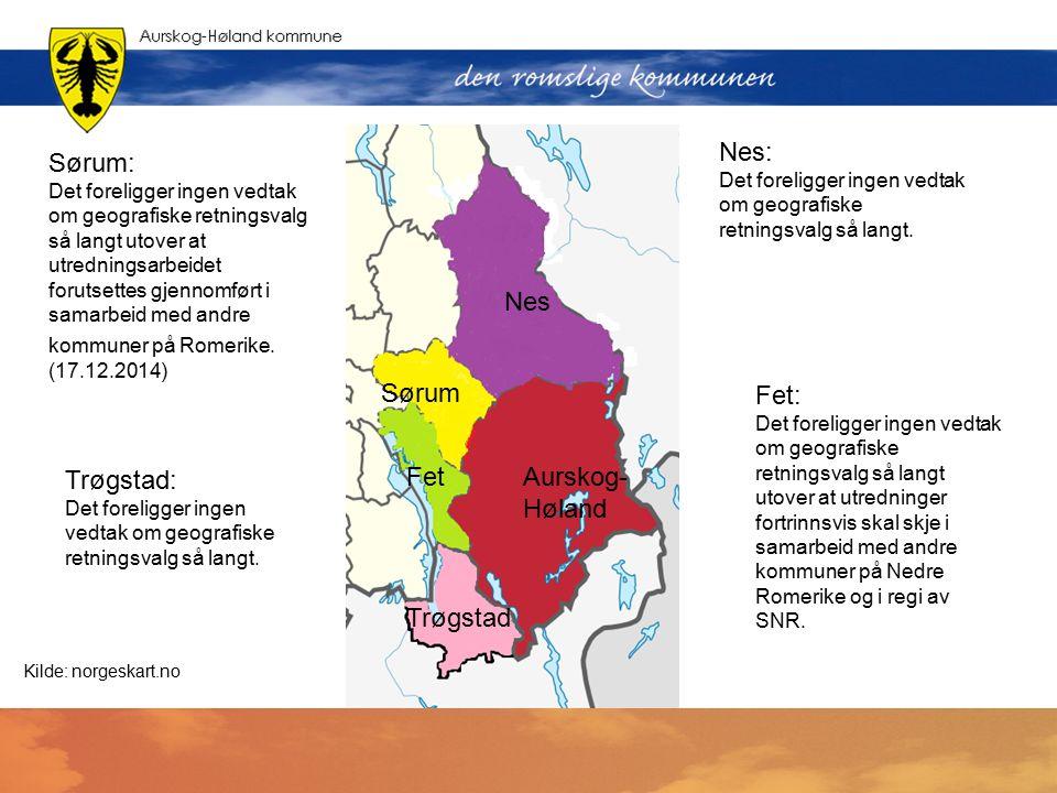 . Nes Sørum FetAurskog- Høland Trøgstad Nes: Det foreligger ingen vedtak om geografiske retningsvalg så langt. Sørum: Det foreligger ingen vedtak om g