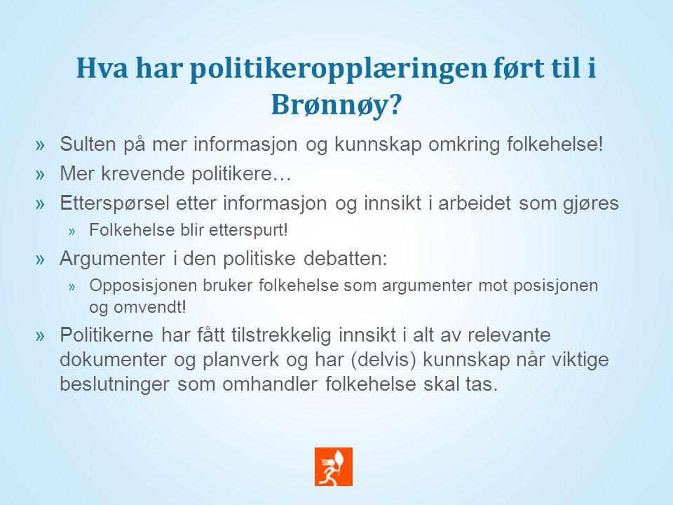 Hva har politikeropplæringen ført til i Brønnøy.