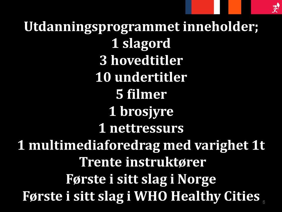 + Utdanningsprogrammet inneholder; 1 slagord 3 hovedtitler 10 undertitler 5 filmer 1 brosjyre 1 nettressurs 1 multimediaforedrag med varighet 1t Trente instruktører Første i sitt slag i Norge Første i sitt slag i WHO Healthy Cities 5