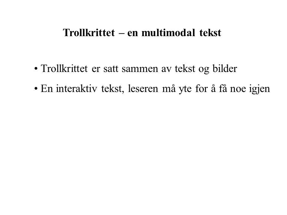 Trollkrittet – en multimodal tekst Trollkrittet er satt sammen av tekst og bilder En interaktiv tekst, leseren må yte for å få noe igjen