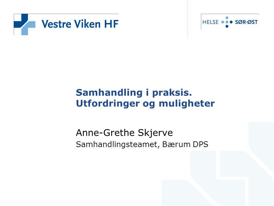 Samhandling i praksis. Utfordringer og muligheter Anne-Grethe Skjerve Samhandlingsteamet, Bærum DPS