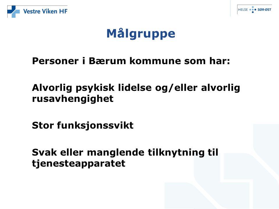Målgruppe Personer i Bærum kommune som har: Alvorlig psykisk lidelse og/eller alvorlig rusavhengighet Stor funksjonssvikt Svak eller manglende tilknyt