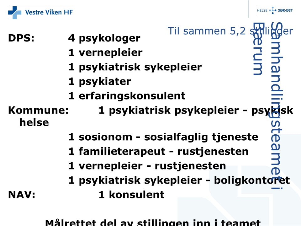 DPS:4 psykologer 1 vernepleier 1 psykiatrisk sykepleier 1 psykiater 1 erfaringskonsulent Kommune: 1 psykiatrisk psykepleier - psykisk helse 1 sosionom