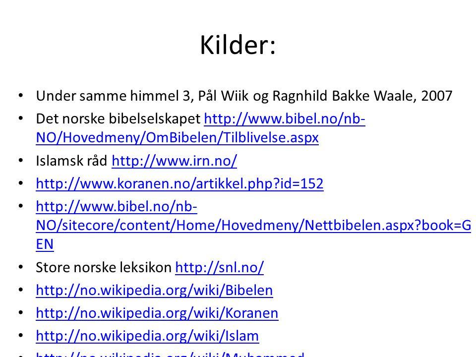 Kilder: Under samme himmel 3, Pål Wiik og Ragnhild Bakke Waale, 2007 Det norske bibelselskapet http://www.bibel.no/nb- NO/Hovedmeny/OmBibelen/Tilblive
