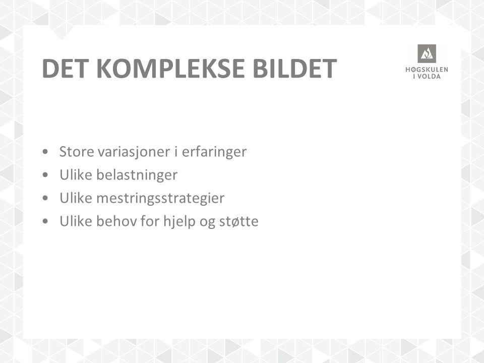 DET KOMPLEKSE BILDET Store variasjoner i erfaringer Ulike belastninger Ulike mestringsstrategier Ulike behov for hjelp og støtte