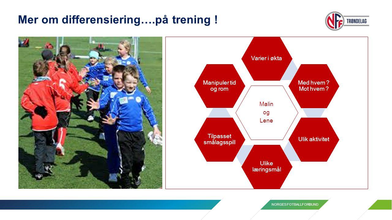 NORGES FOTBALLFORBUND Mer om differensiering….på trening ! Malin og Lene Varier i økta Med hvem ? Mot hvem ? Ulik aktivitet Ulike læringsmål Tilpasset