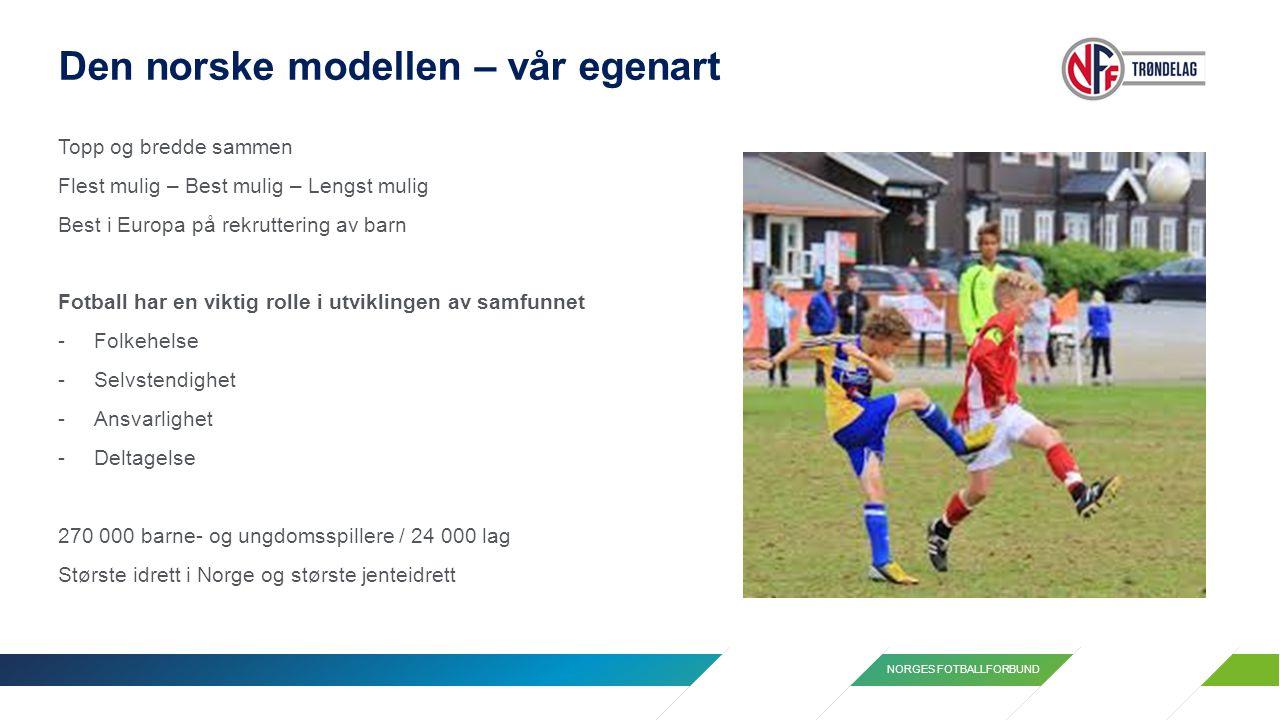 NORGES FOTBALLFORBUND Den norske modellen – vår egenart Topp og bredde sammen Flest mulig – Best mulig – Lengst mulig Best i Europa på rekruttering av