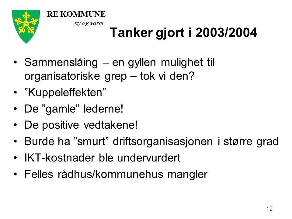 """RE KOMMUNE ny og varm Tanker gjort i 2003/2004 12 Sammenslåing – en gyllen mulighet til organisatoriske grep – tok vi den? """"Kuppeleffekten"""" De """"gamle"""""""