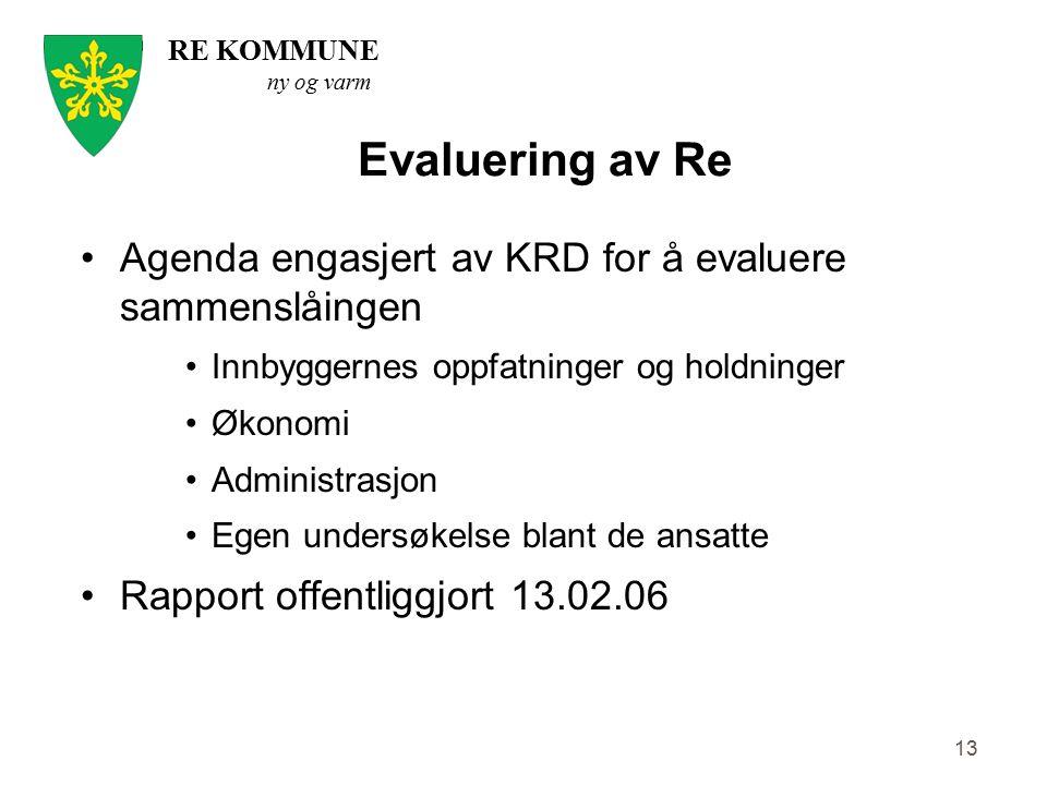 RE KOMMUNE ny og varm 13 Evaluering av Re Agenda engasjert av KRD for å evaluere sammenslåingen Innbyggernes oppfatninger og holdninger Økonomi Admini