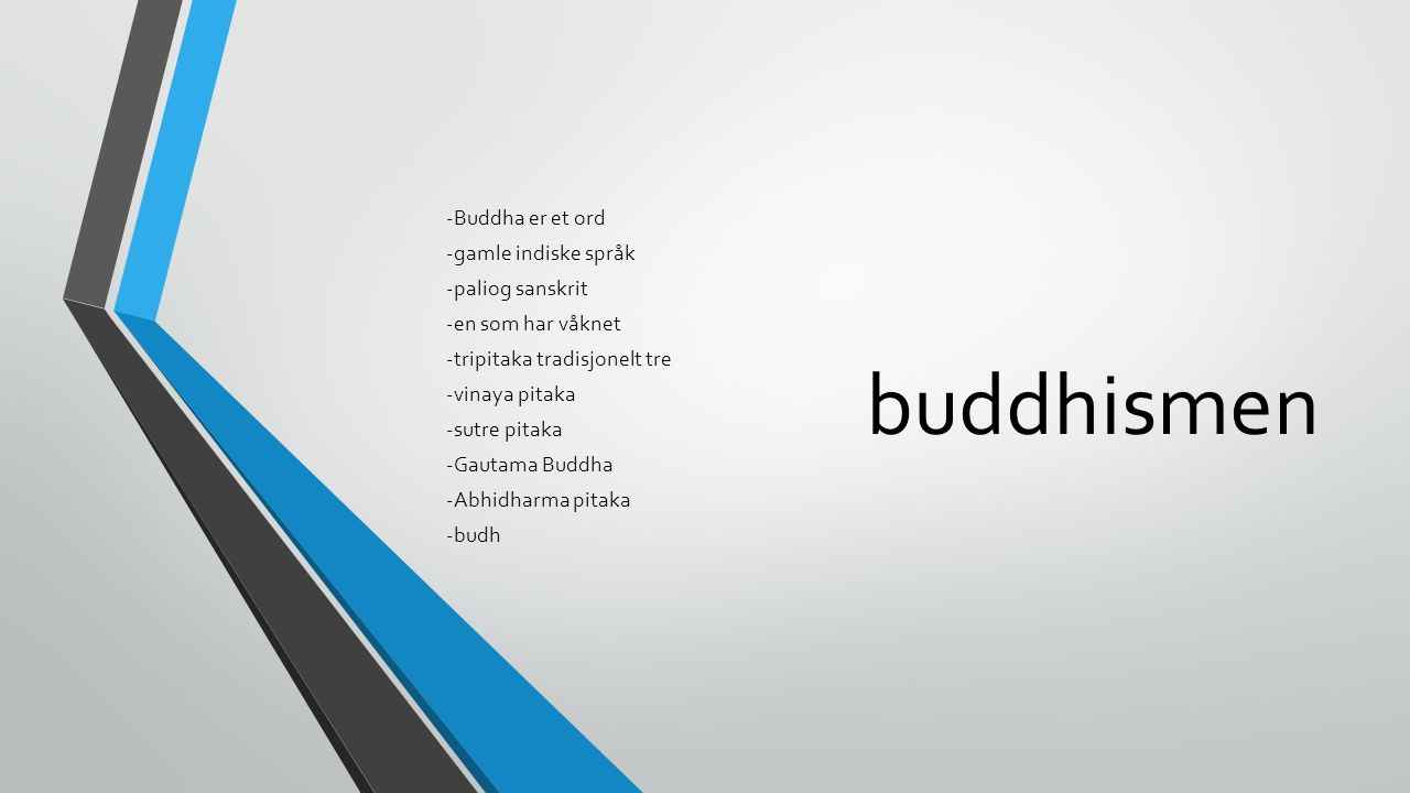 buddhismen -Buddha er et ord -gamle indiske språk -paliog sanskrit -en som har våknet -tripitaka tradisjonelt tre -vinaya pitaka -sutre pitaka -Gautam
