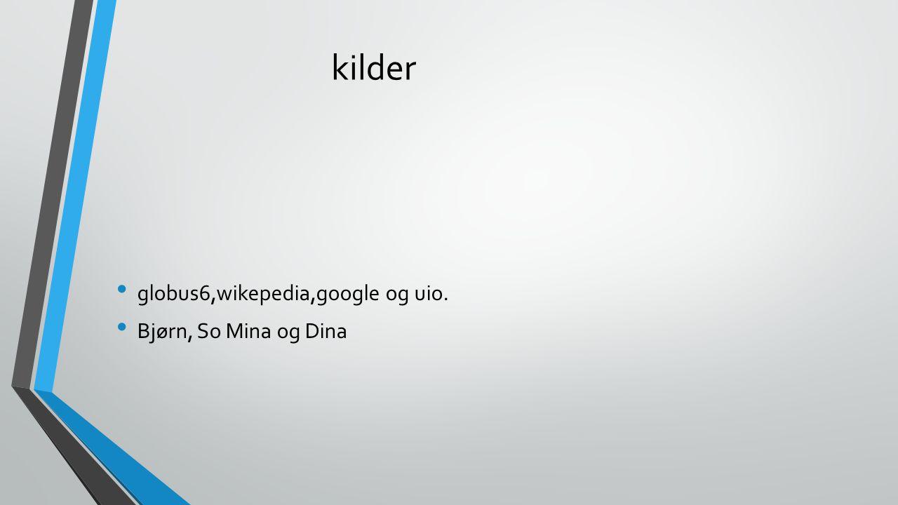 kilder globus6,wikepedia,google og uio. Bjørn, So Mina og Dina
