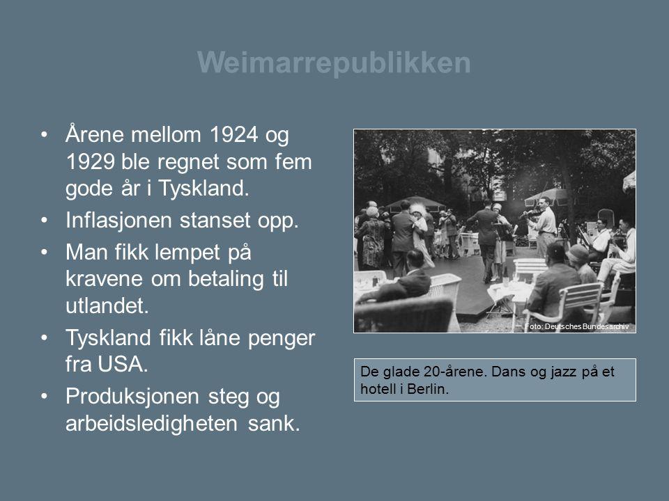 Weimarrepublikken Årene mellom 1924 og 1929 ble regnet som fem gode år i Tyskland. Inflasjonen stanset opp. Man fikk lempet på kravene om betaling til