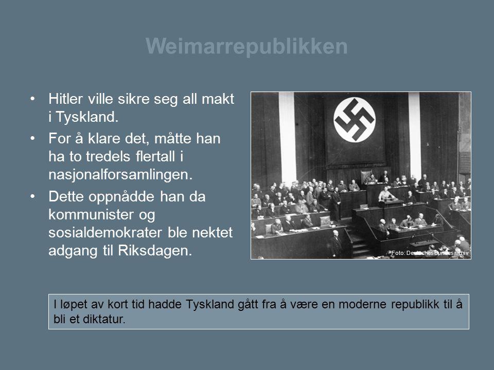 Weimarrepublikken Hitler ville sikre seg all makt i Tyskland. For å klare det, måtte han ha to tredels flertall i nasjonalforsamlingen. Dette oppnådde
