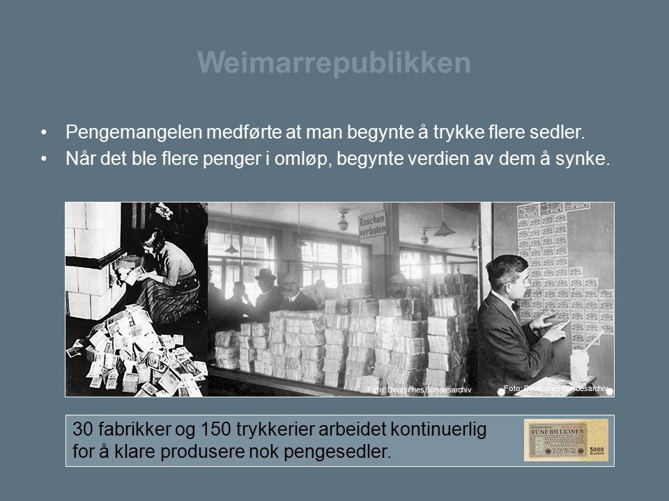 Weimarrepublikken Pengemangelen medførte at man begynte å trykke flere sedler. Når det ble flere penger i omløp, begynte verdien av dem å synke. 30 fa