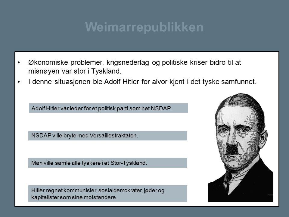 Weimarrepublikken Økonomiske problemer, krigsnederlag og politiske kriser bidro til at misnøyen var stor i Tyskland. I denne situasjonen ble Adolf Hit