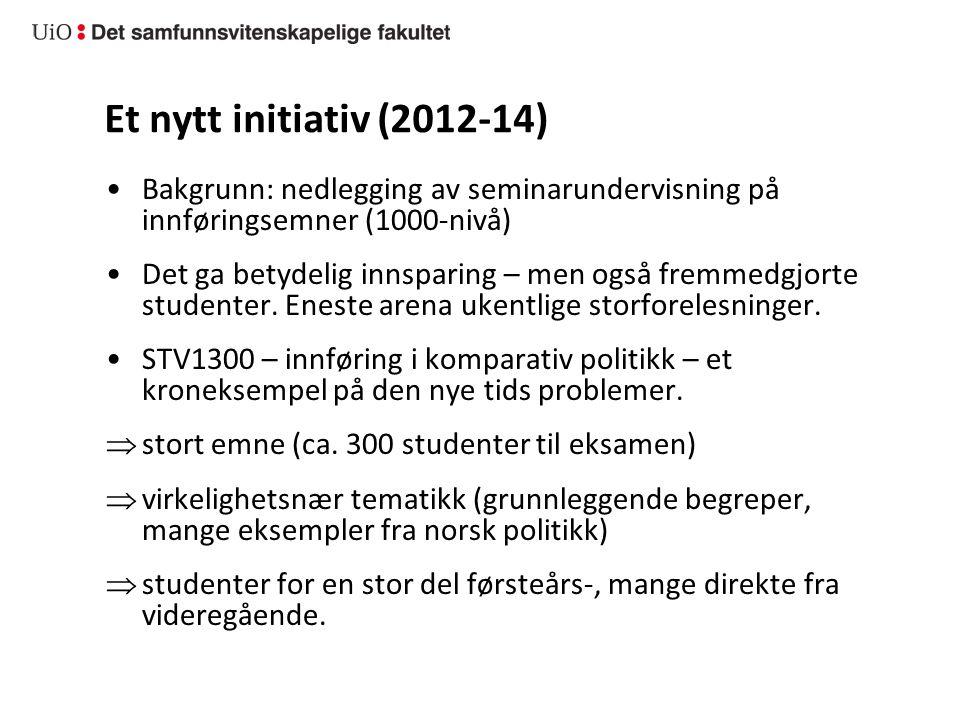 Et nytt initiativ (2012-14) Bakgrunn: nedlegging av seminarundervisning på innføringsemner (1000-nivå) Det ga betydelig innsparing – men også fremmedg