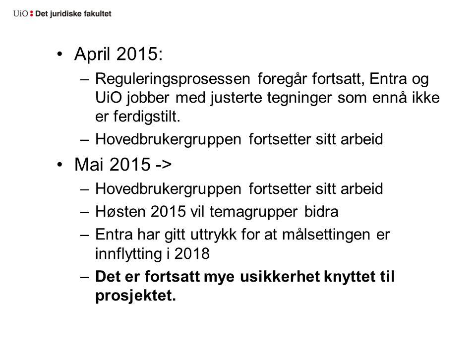 April 2015: –Reguleringsprosessen foregår fortsatt, Entra og UiO jobber med justerte tegninger som ennå ikke er ferdigstilt.