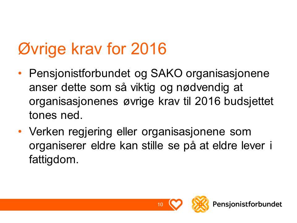 Øvrige krav for 2016 Pensjonistforbundet og SAKO organisasjonene anser dette som så viktig og nødvendig at organisasjonenes øvrige krav til 2016 budsjettet tones ned.