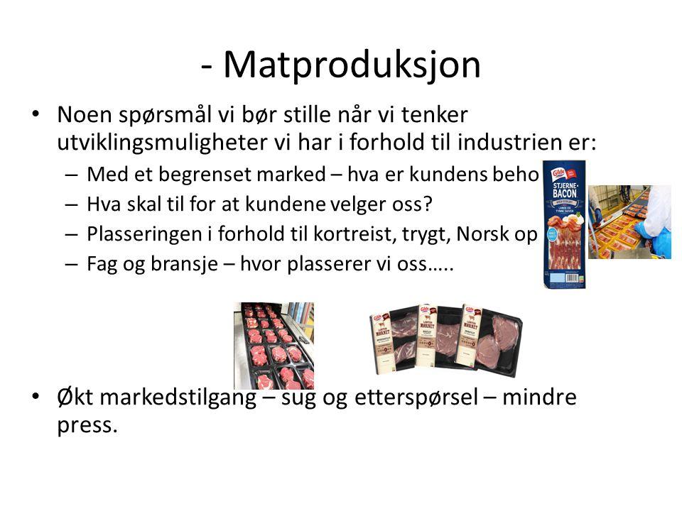 - Matproduksjon Noen spørsmål vi bør stille når vi tenker utviklingsmuligheter vi har i forhold til industrien er: – Med et begrenset marked – hva er kundens behov.