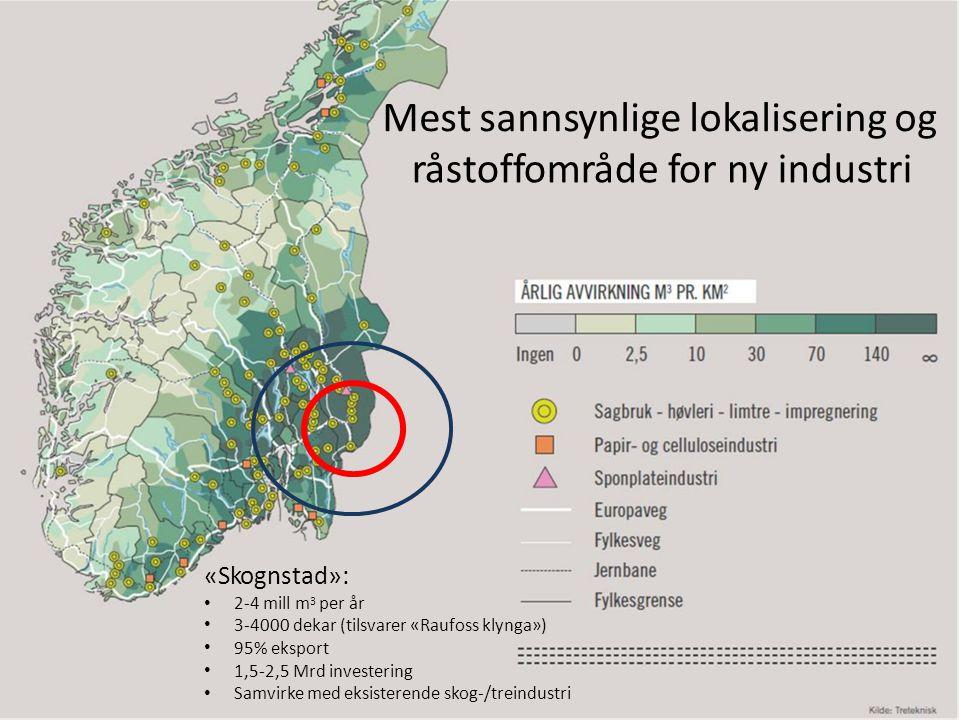 Mest sannsynlige lokalisering og råstoffområdefornynyindustri «Skognstad»: 2-4 mill m 3 per år 3-4000 dekar (tilsvarer «Raufoss klynga») 95% eksport 1,5-2,5 Mrd investering Samvirke med eksisterende skog-/treindustri