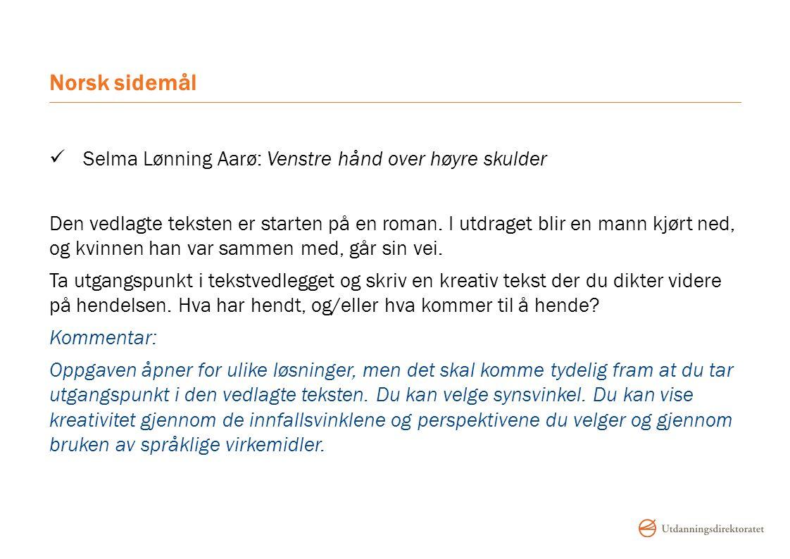 Norsk sidemål Selma Lønning Aarø: Venstre hånd over høyre skulder Den vedlagte teksten er starten på en roman.