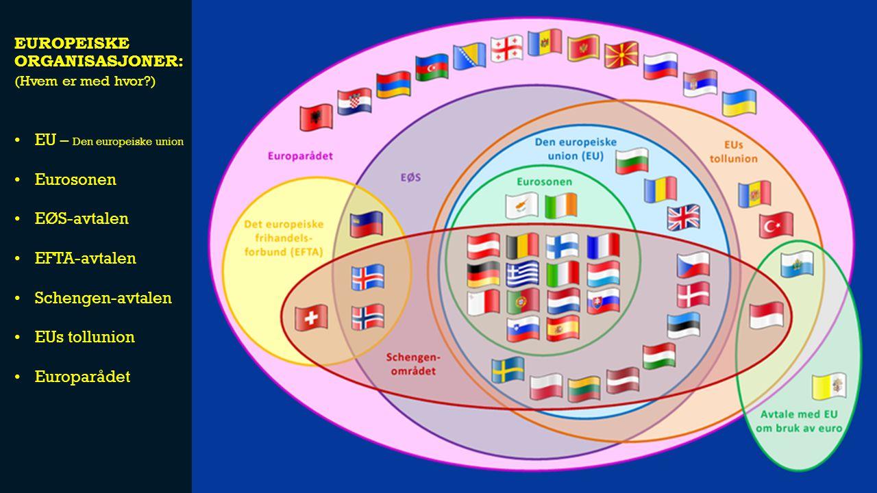 EUROPEISKE ORGANISASJONER: EU – Den europeiske union Eurosonen EØS-avtalen EFTA-avtalen Schengen-avtalen EUs tollunion Europarådet (Hvem er med hvor?)