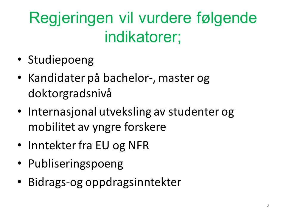Regjeringen vil vurdere følgende indikatorer; Studiepoeng Kandidater på bachelor-, master og doktorgradsnivå Internasjonal utveksling av studenter og mobilitet av yngre forskere Inntekter fra EU og NFR Publiseringspoeng Bidrags-og oppdragsinntekter 3