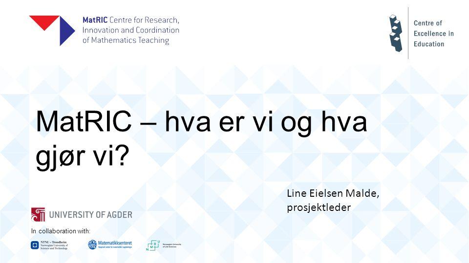 In collaboration with: MatRIC – hva er vi og hva gjør vi Line Eielsen Malde, prosjektleder