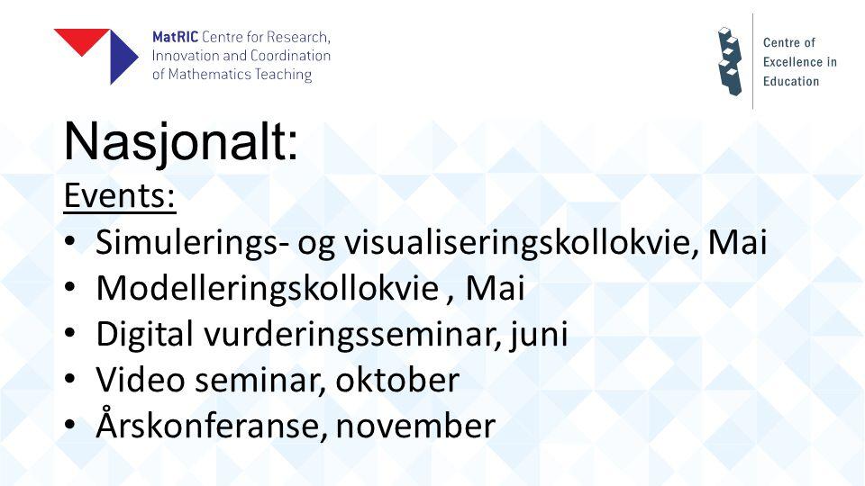 Nasjonalt: Events: Simulerings- og visualiseringskollokvie, Mai Modelleringskollokvie, Mai Digital vurderingsseminar, juni Video seminar, oktober Årskonferanse, november