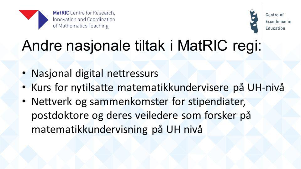 Andre nasjonale tiltak i MatRIC regi: Nasjonal digital nettressurs Kurs for nytilsatte matematikkundervisere på UH-nivå Nettverk og sammenkomster for stipendiater, postdoktore og deres veiledere som forsker på matematikkundervisning på UH nivå
