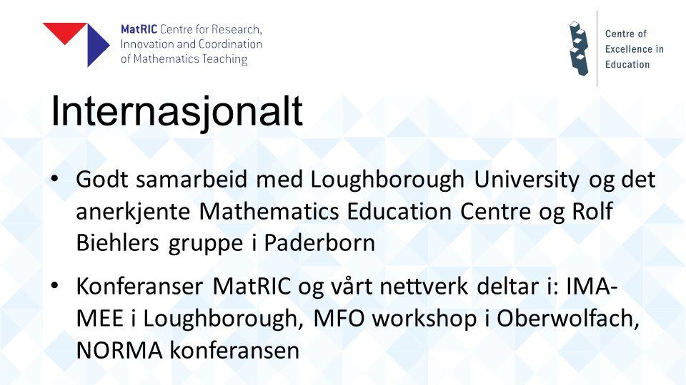Internasjonalt Godt samarbeid med Loughborough University og det anerkjente Mathematics Education Centre og Rolf Biehlers gruppe i Paderborn Konferanser MatRIC og vårt nettverk deltar i: IMA- MEE i Loughborough, MFO workshop i Oberwolfach, NORMA konferansen