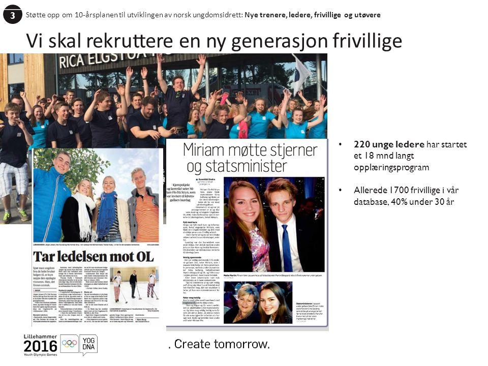 3 Støtte opp om 10-årsplanen til utviklingen av norsk ungdomsidrett: Nye trenere, ledere, frivillige og utøvere Vi skal rekruttere en ny generasjon frivillige 220 unge ledere har startet et 18 mnd langt opplæringsprogram Allerede 1700 frivillige i vår database, 40% under 30 år