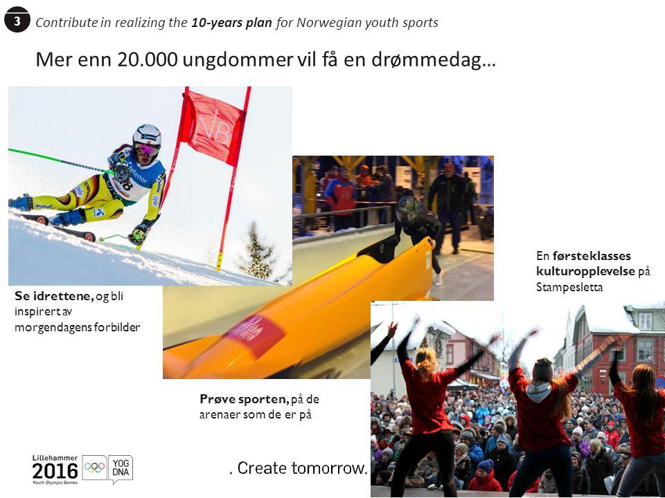 3 Mer enn 20.000 ungdommer vil få en drømmedag… Sports Get active Se idrettene, og bli inspirert av morgendagens forbilder Prøve sporten, på de arenaer som de er på En førsteklasses kulturopplevelse på Stampesletta