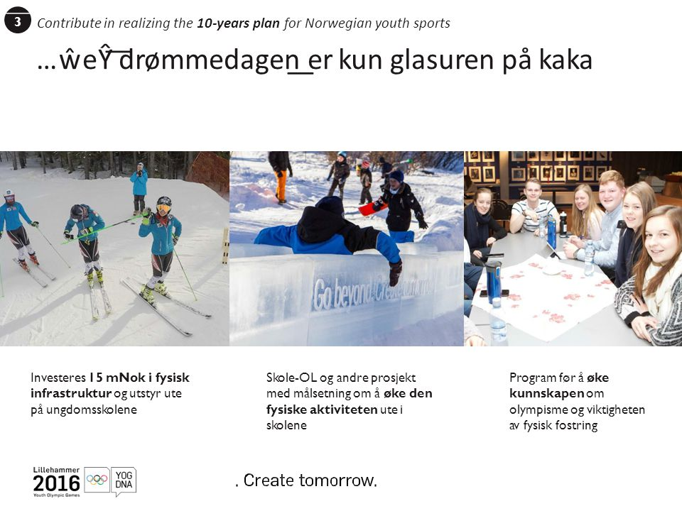 3 Contribute in realizing the 10-years plan for Norwegian youth sports …ŵeŶ ͞drømmedagen͟ er kun glasuren på kaka ASAK Skole OL Un gso dervisnin ppleg