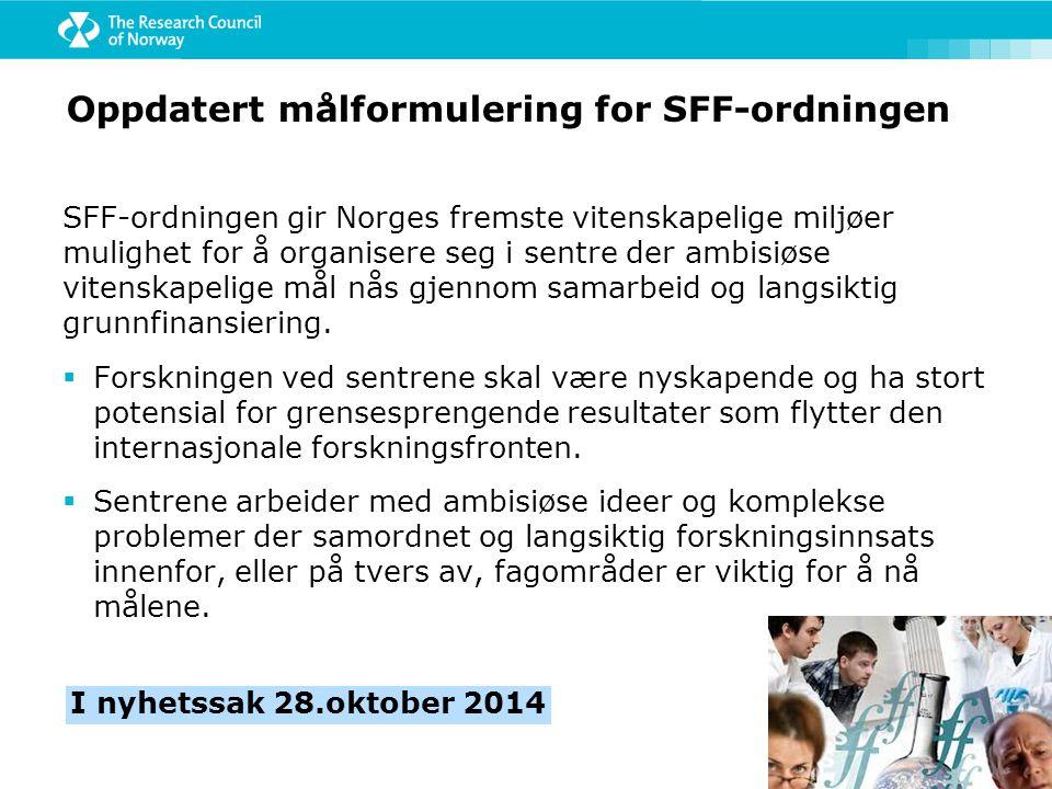 SFF-ordningen gir Norges fremste vitenskapelige miljøer mulighet for å organisere seg i sentre der ambisiøse vitenskapelige mål nås gjennom samarbeid og langsiktig grunnfinansiering.