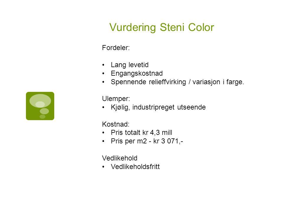 Vurdering Steni Color Fordeler: Lang levetid Engangskostnad Spennende relieffvirking / variasjon i farge.