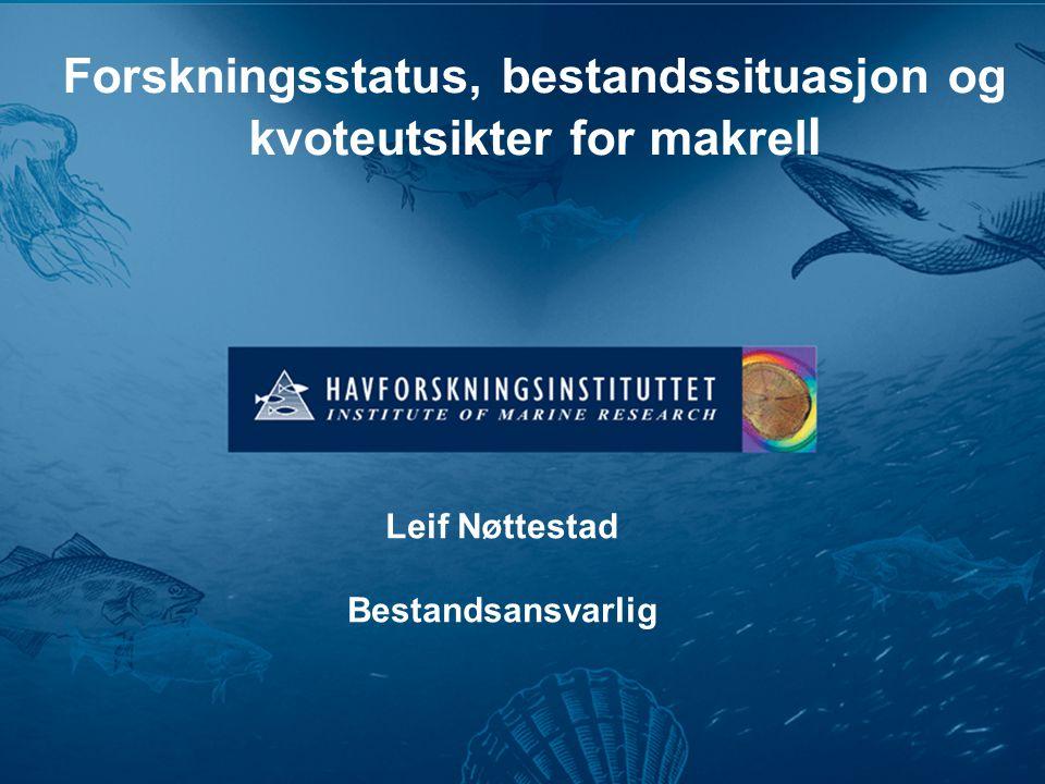 Forskningsstatus, bestandssituasjon og kvoteutsikter for makrel l Leif Nøttestad Bestandsansvarlig