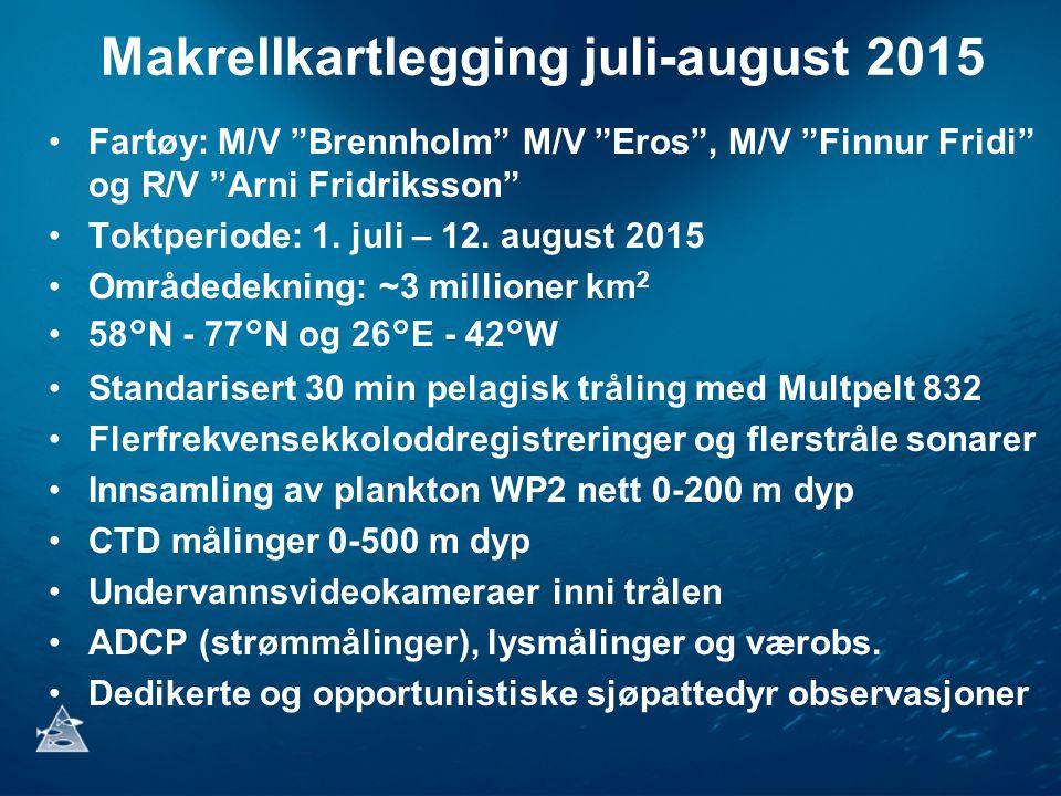 """Makrellkartlegging juli-august 2015 Fartøy: M/V """"Brennholm"""" M/V """"Eros"""", M/V """"Finnur Fridi"""" og R/V """"Arni Fridriksson"""" Toktperiode: 1. juli – 12. august"""