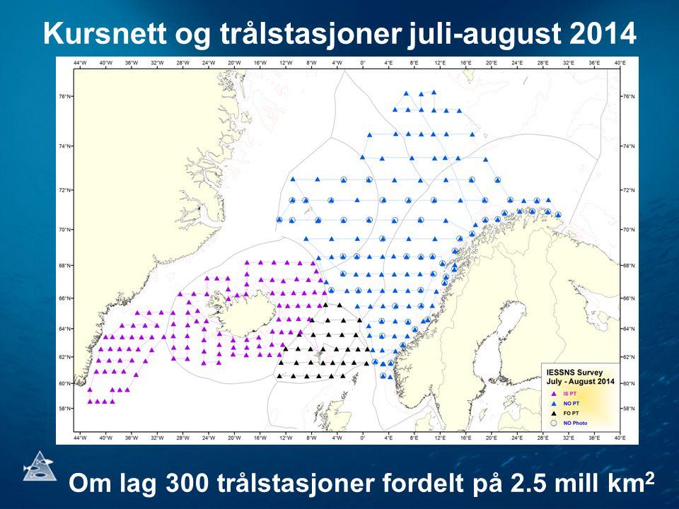 Kursnett og trålstasjoner juli-august 2014 Om lag 300 trålstasjoner fordelt på 2.5 mill km 2